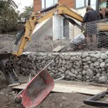 Gabion basket retaining wall construction